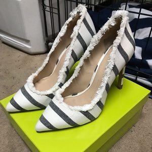 Gianni Bini Dawna Two Black/White striped heels